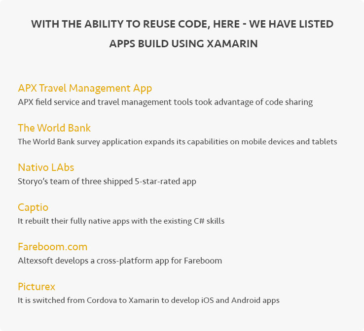 With the ability to reuse code, here - we have listed apps build using Xamarin